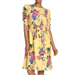 NEW Bobeau Yellow Floral Print Ruched Sleeve Dress